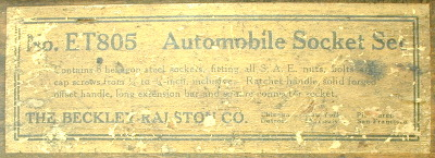 [Close-up of Label for Beckley-Ralston No. ET805 Set]
