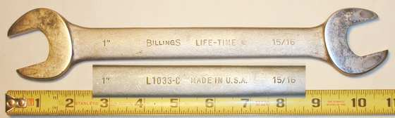 [Billings Life-Time L1033-C 15/16x1 Open-End Wrench]