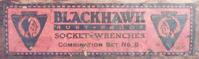 [Label for Early Blackhawk No. 8 Socket Set]