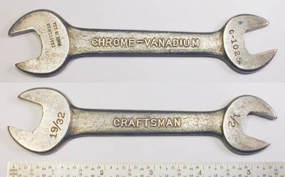 [Craftsman Early Chrome-Vanadium C-1025 1/2x19/32 Open-End Wrench]
