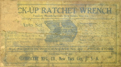 [Label for a Crescent Mfg. Pick-Up Ratchet Wrench Set]