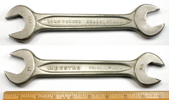 [Indestro Chicago No. 733 7/8x1 Inch Open-End Wrench]