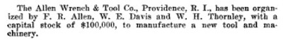 [1913 Notice for Allen Wrench & Tool]