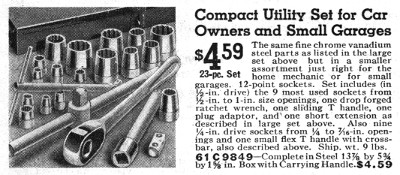 [1935 Catalog Listing for Montgomery Ward Compact Utility Socket Set]