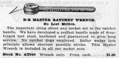 [1924 Catalog Listing for B-R No. AT840 Master Ratchet]