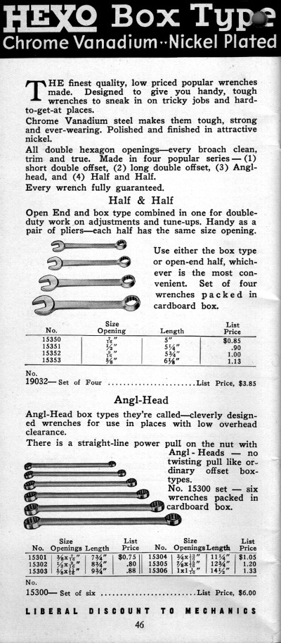 [1934 Catalog Listing for HeXo Wrenches]