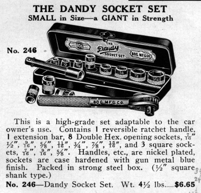 [1932 Catalog Listing for Bog Dandy Socket Set]