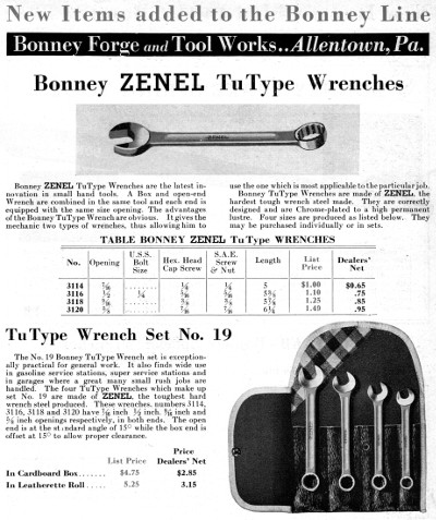 [May, 1933 Catalog Listing for Bonney Zenel TuType Wrenches]