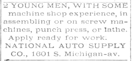 [1920 Help Wanted Advertisement for Machine Operators]