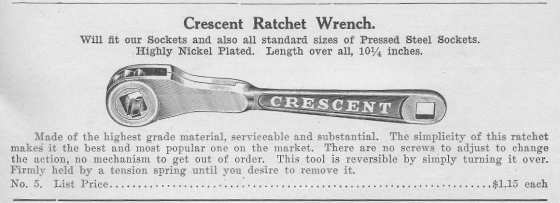 [Catalog Listing for No. 5 Crescent Ratchet Wrench]