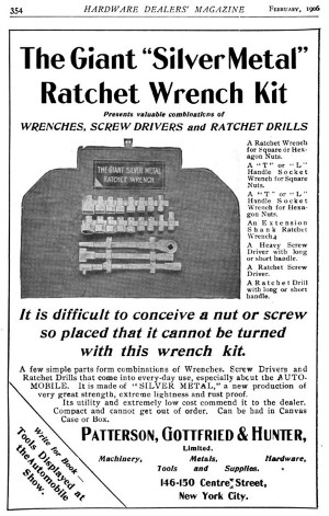 [1906 Advertisement for Giant Ratchet Wrench Tool Roll]