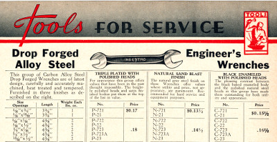 [1938 Catalog Listing for Indestro Open-End Wrenches]