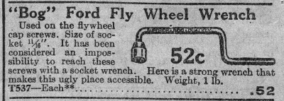 [1927 Catalog Listing for Bog Ford Flywheel Wrench]