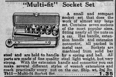 [1929 Catalog Listing for Bog Multi-Fit Socket Set]
