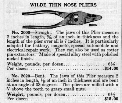 [1924 Catalog Listing for Wilde Thin-Nose Pliers]